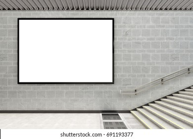 Blank horizontal advertising billboard poster underground. 3d illustration