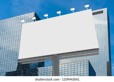 Blank horizontal billboard in city background. 3D rendered illustration.