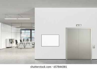 Blank horizontal poster on the wall and elevator in modern office with clipping path around poster. 3d illustration