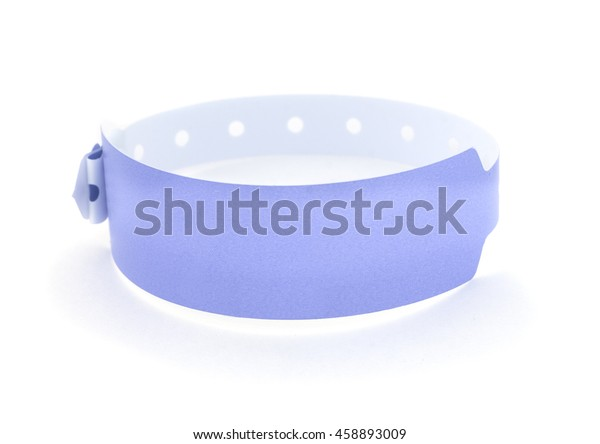 Blank hospital wristband isolated on a white background.
