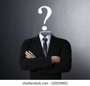 Blank human head symbol with words The question mark