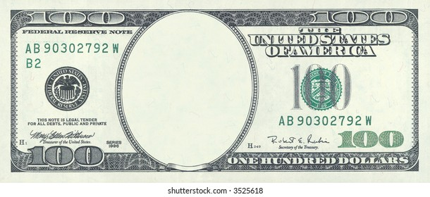 Blank hundred dollar bill. (with clipping path)