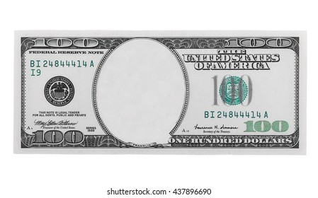 blank hundred dollars bank note isolated on white background, with clipping path