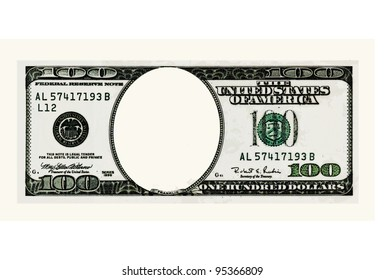 Blank hundred dollars bank note. Comix style