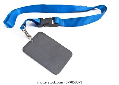 Blank ID card tag with blue ribbon  isolated on white