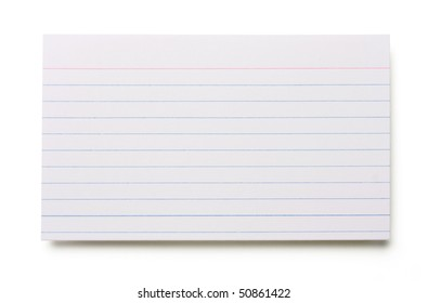 Blank index card isolated on white background.