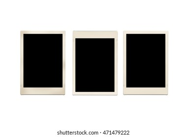 Blank instant photo frame isolated on white background. with clipping paths