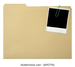 Blank instant print clipped to manila folder