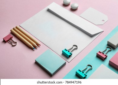 Blank items as mockups for branding on color background
