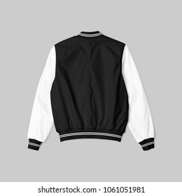 blank jacket bomber baseball black white color in back view on grey background isolated for mockup template