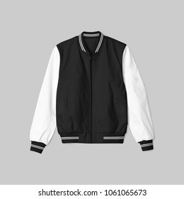 blank jacket bomber baseball black white color in front view on grey background isolated for mockup template