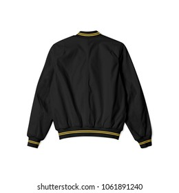 blank jacket bomber baseball black with gold stipe in back view on white background isolated for mockup template