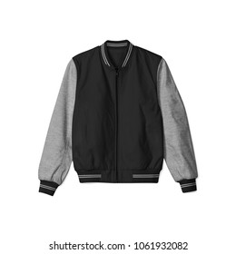 blank jacket bomber baseball black heather grey color on white background in front view isolated for mockup template