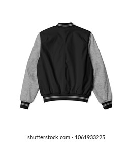 blank jacket bomber baseball black heather grey color in back view on white background isolated for mockup template