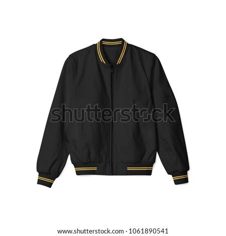 Blank Jacket Bomber Baseball Black Gold Stock Photo (Edit Now ...