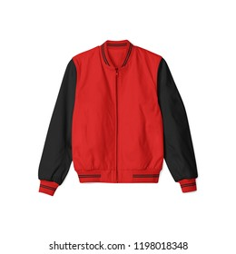 Blank jacket bomber baseball with red black color on white background in front view isolated for mockup template.