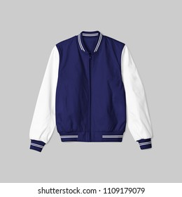 blank jacket bomber baseball satin blue navy color and white arm on grey background in front view isolated for mockup template