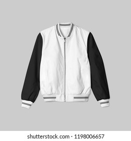 Blank jacket bomber baseball with white black color on grey background in front view isolated for mockup template.