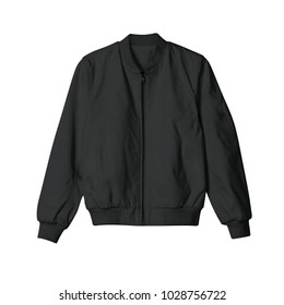35a2cbbfa blank jacket bomber black color in front view for mockup template on white  background isolated