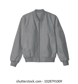blank jacket bomber black color front view on white background for mockup template