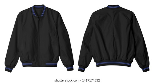 Blank jacket bomber black color with blue stripe color isolated on white background. Bundle set of black jacket in front and back view suitable for mock up template
