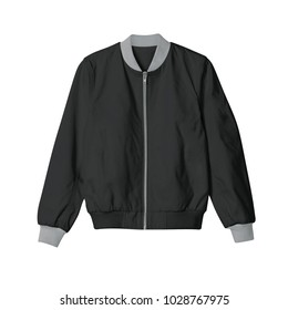 blank jacket bomber black with grey ribb and zip in front view on white background for mockup template
