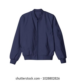 blank jacket bomber navy blue color in front view on white background for mockup template