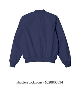 blank jacket bomber navy blue color in back view on white background for mockup template