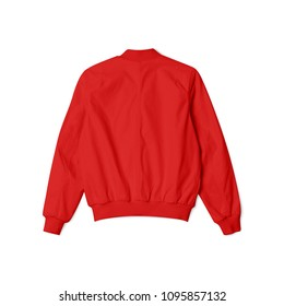 blank jacket bomber red color in back view on white background isolated suitable for mockup template