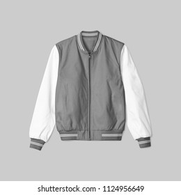 blank jacket satin baseball grey and white color on grey background for mockup template isolated. in front view