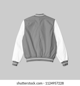 blank jacket satin baseball grey and white color on grey background for mockup template isolated. in back view