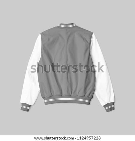 Blank Jacket Satin Baseball Grey White Stock Photo (Edit Now ...