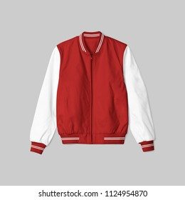 blank jacket satin baseball red and white color on grey background for mockup template isolated. in front view
