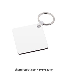 Blank key ring isolated on white background. Key chain for your design. Clipping paths object.