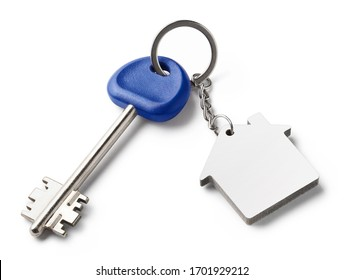 Blank keychain and long key, isolated on white background