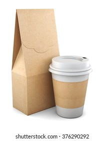 Blank Kraft bag and plastic Cup on white background. 3d rendering.