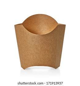Blank kraft or craft paper cardboard fry box isolated on white background packaging template mockup collection with clipping path - Shutterstock ID 171913937