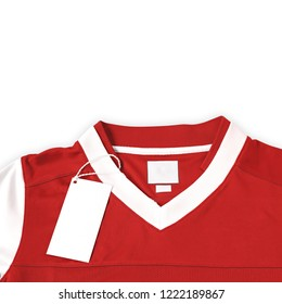 Blank label with red football shirt on white background.