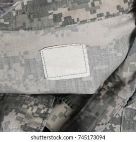 Blank Label Textile Tag on Digital Army Camo