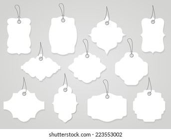 blank labels or tags white with ropes
