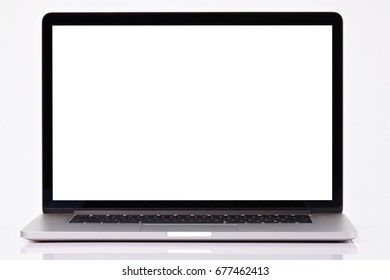 Blank laptop display isolated on white background. Copy space on laptop screen