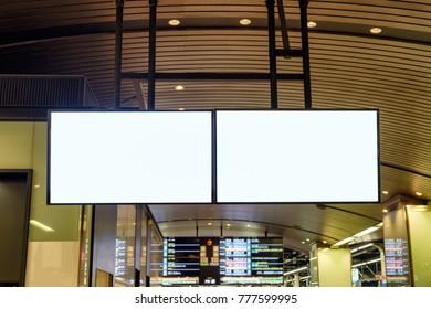 Blank large billboard advertising hanging at subway station