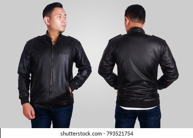 Blank leather jacket mock up, front, and back view, isolated on grey. Asian male model wear plain black long sleeved leather jacket mockup. Clothes design presentation for print