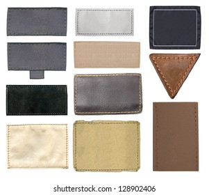 Blank leather jeans label, isolated, set