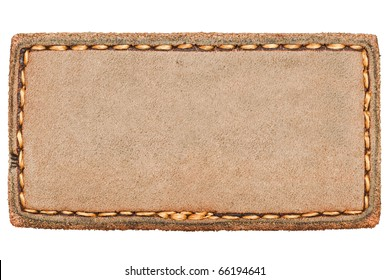 Blank leather jeans label isolated on white