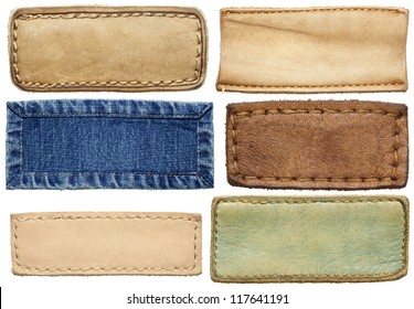 Blank leather jeans labels, isolated.