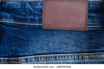 Blank leather label back view of jeans