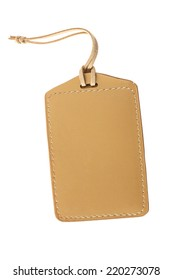 Blank Leather Label or Tag Isolated on White Background