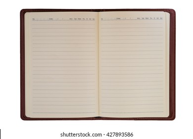 Blank leather notebook isolated on white background.Top view with clipping path