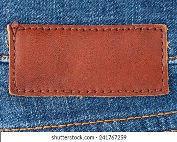 Blank leather patch on denim jeans clothing